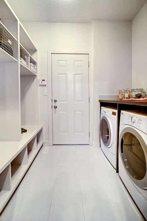 All White Mudroom Laundry With Open Shelving