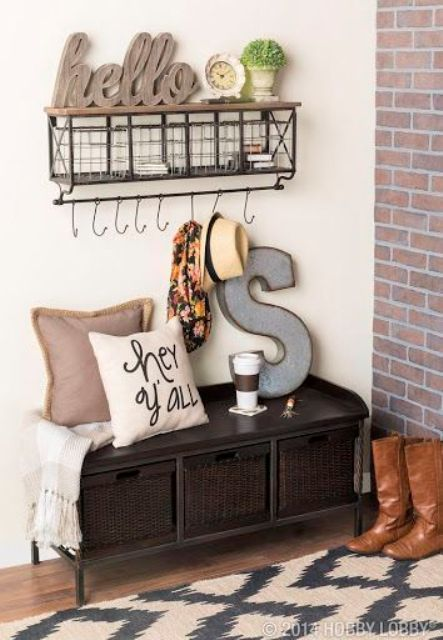 dark tiny mudroom bench with baskets