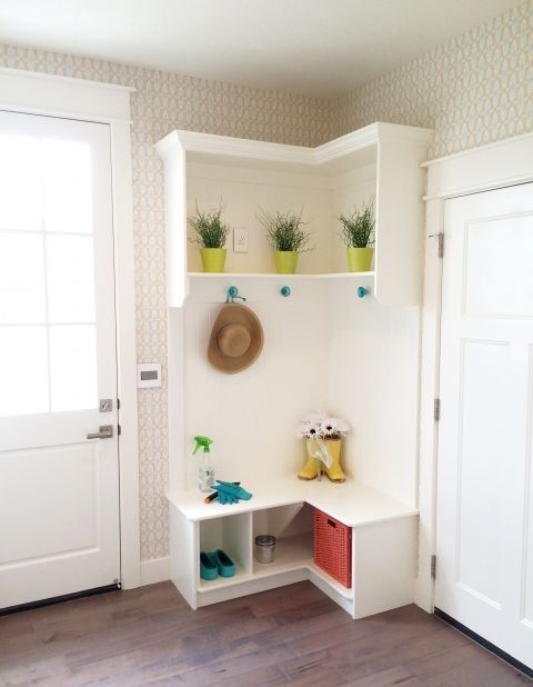 mudroom bench with compartments and a cubby