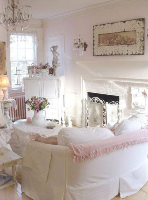 Shabby Chic White Room With Pink And Blush Touches