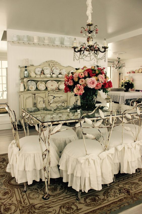 26 Ways To Create A Shabby Chic Dining Room Or Area  : 12 shabby metal dining chairs with ruffled slipcovers from www.shelterness.com size 564 x 846 jpeg 93kB