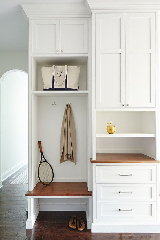tiny mudroom built-in locker