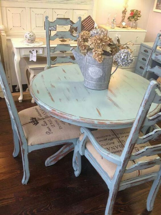26 Ways To Create A Shabby Chic Dining Room Or Area  : 13 distressed blue dining set from www.shelterness.com size 564 x 752 jpeg 75kB