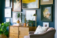 13 gallery art wall with a giant abstract piece