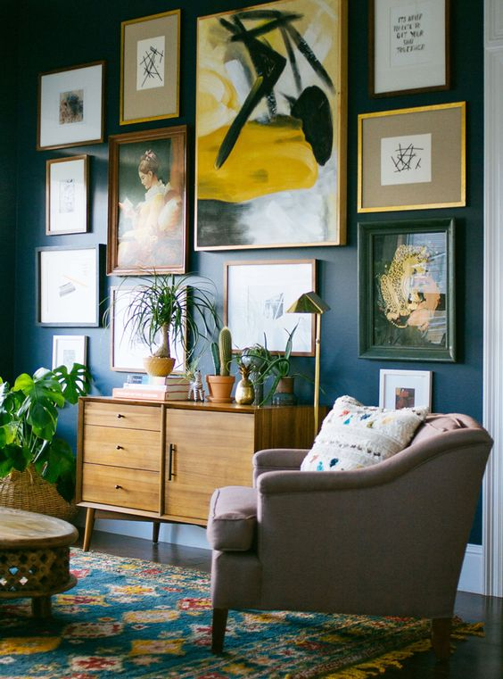 gallery art wall with a giant abstract piece