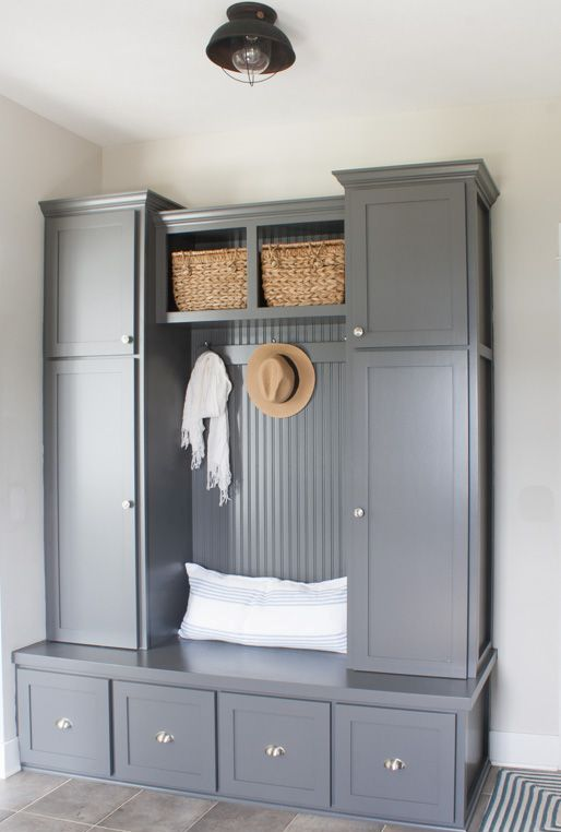 grey mudroom cabinets