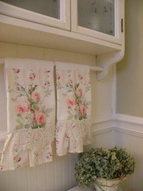 shabby chic floral kitchen towels