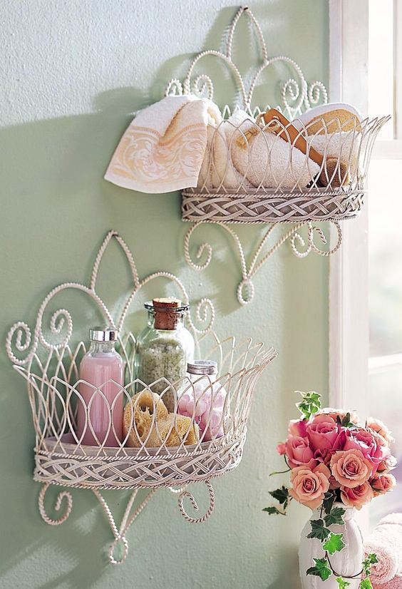 shabby chic vignette bathroom shelves for various stuff