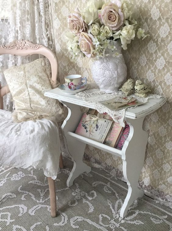 shabby white magazine rack