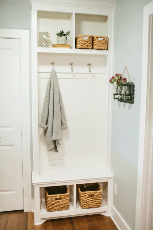 tiny mudroom built in furniture for storage