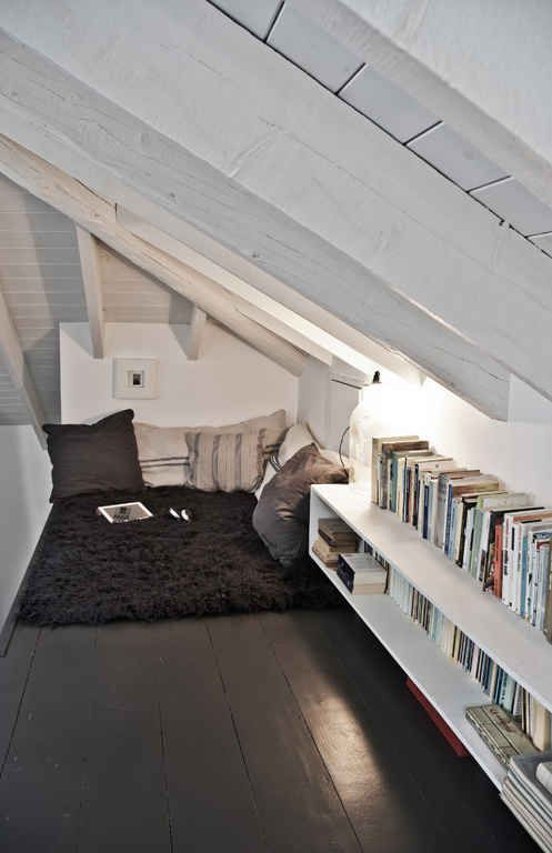 cozy attic reading nook on the floor