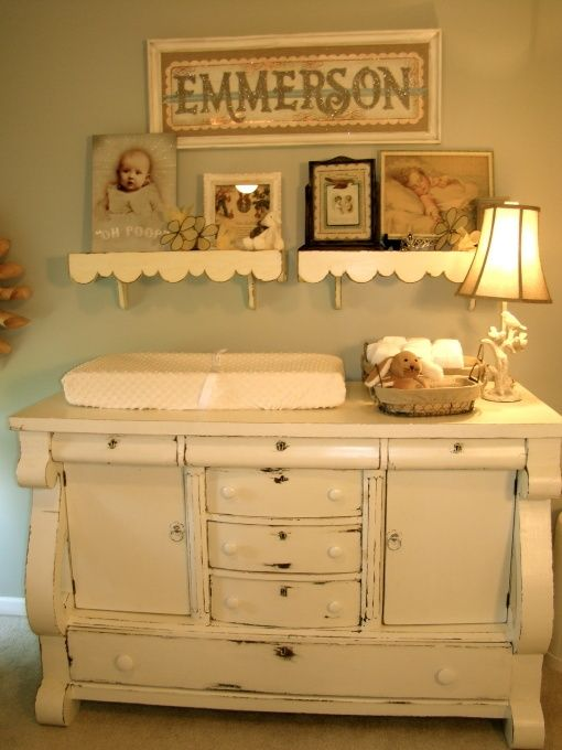 distressed grey changing table
