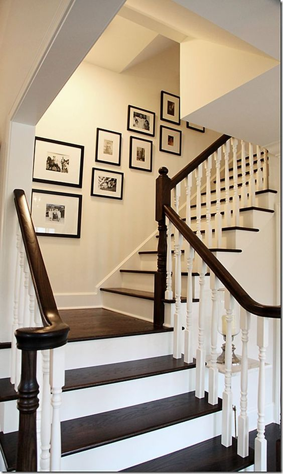minimalist black frames on the stairway