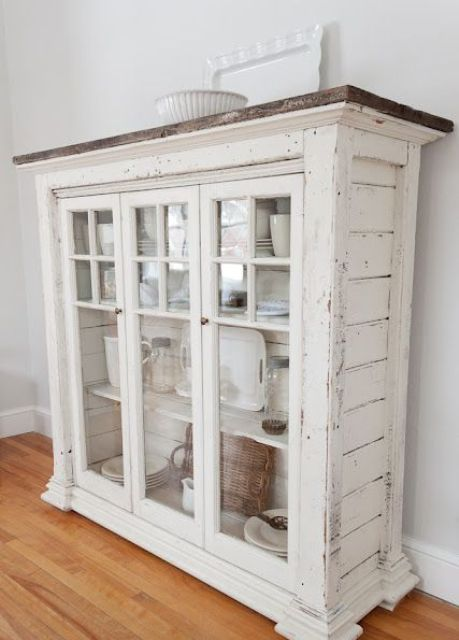 shabby white dishes cabinet