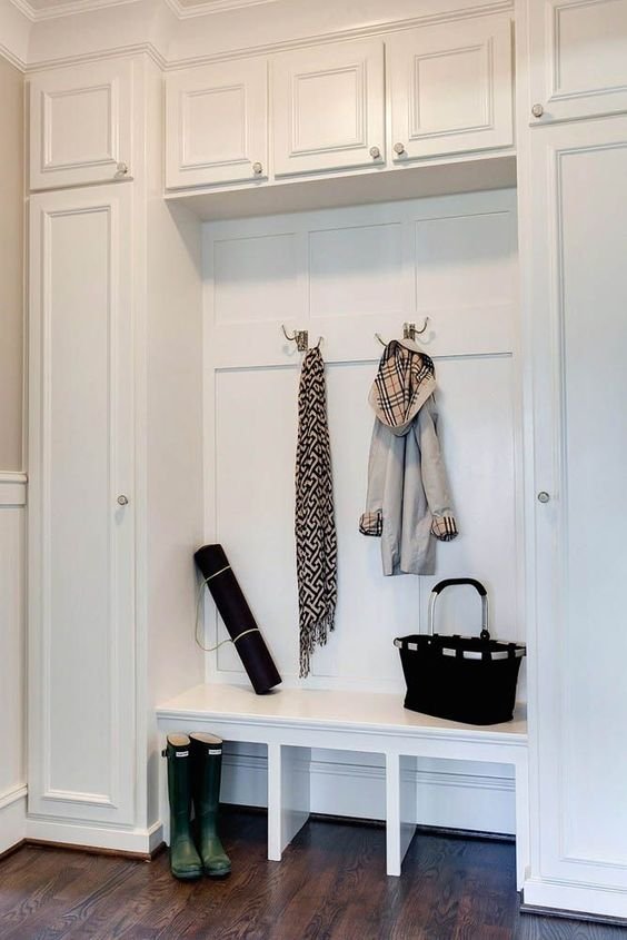 tall white mudroom cabinets