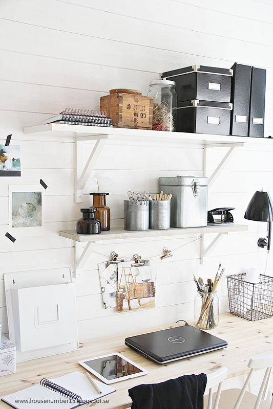 wall-mounted storage shelves over the desk