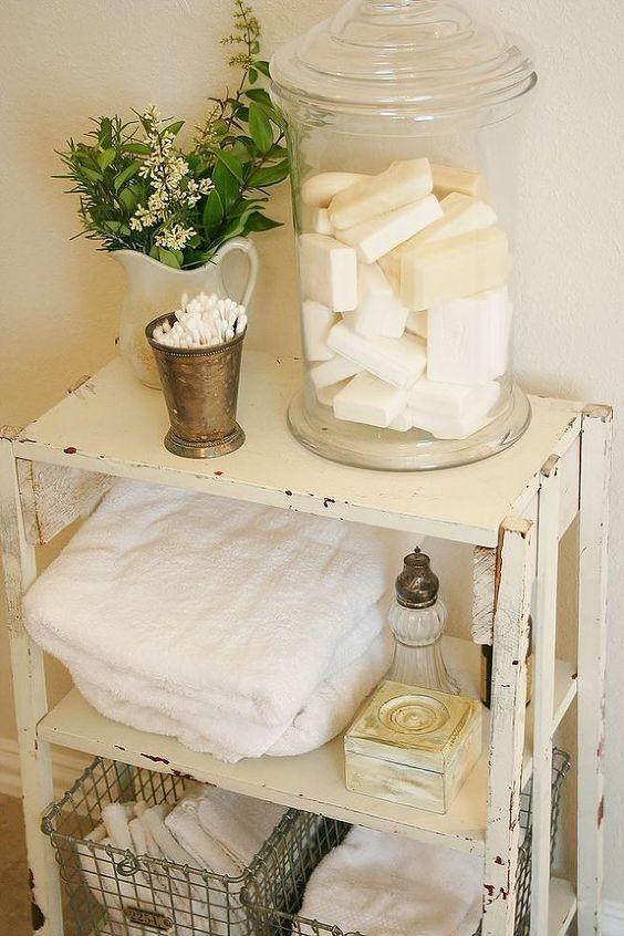 white shabby bathroom shelf