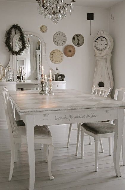 distressed whitewashed dining set
