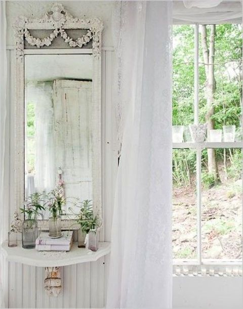 ethereal white lace curtain for shabby chic decor