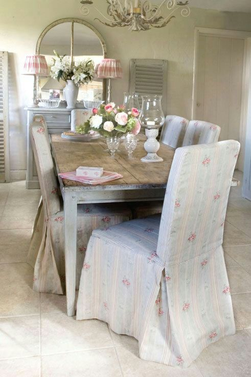Floral Striped Shabby Chic Kitchen Chair Covers