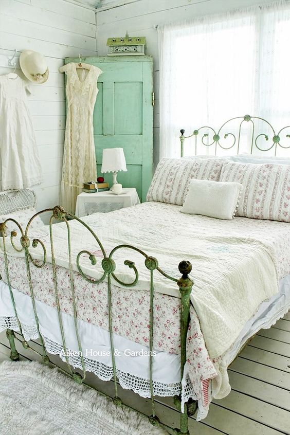 mint cabinet and a shabby patina bed