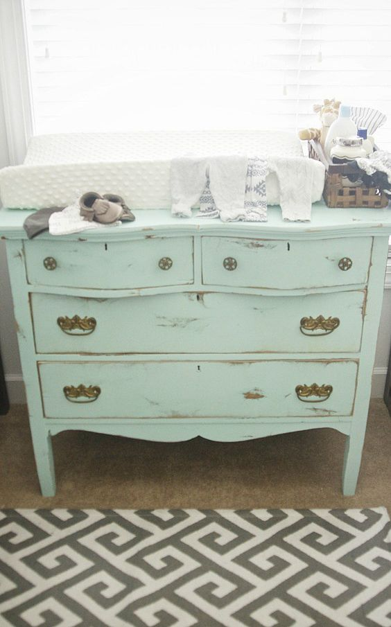 mint distressed changing table