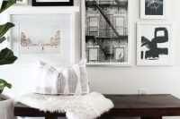 15 monochromatic gallery art wall with several big frames