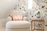16 little reading nook with floral wallpapers