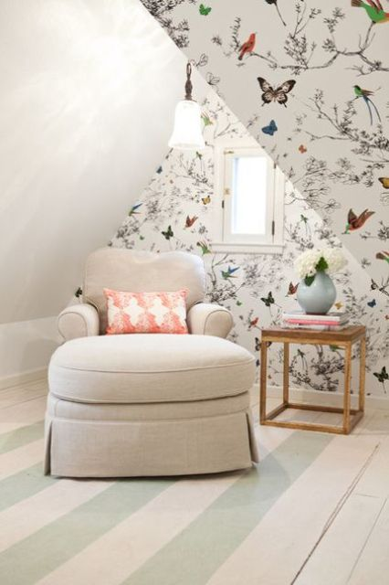 little reading nook with floral wallpapers