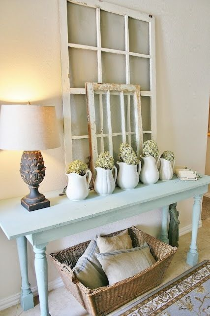 mint console table for a shabby chic entryway