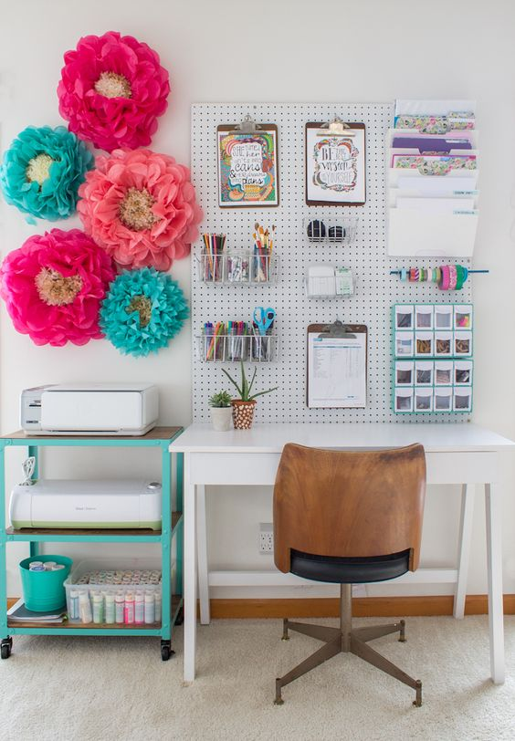 pegboard with shelves and organizers