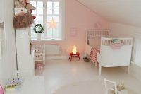 16 pink and white attic girl's room