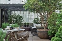 16 potted rooftop garden with a wooden deck