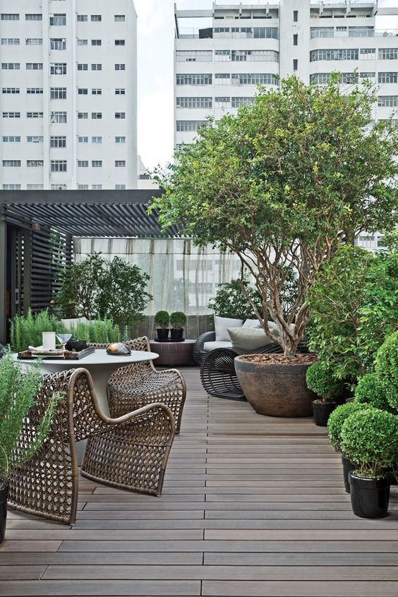 potted rooftop garden with a wooden deck