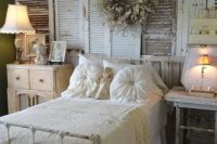 16 shabby chic bedroom with a shutters wall