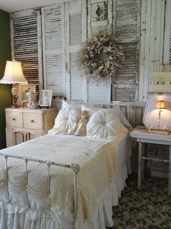 shabby chic bedroom with a shutters wall