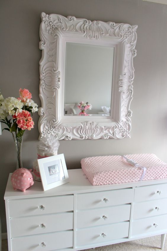 shabby white changing table a vintage framed mirror over it