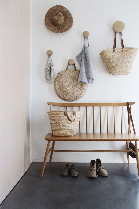 small chic wooden bench for a mudroom