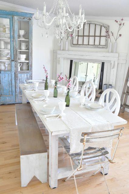 whitewashed aged dining furniture