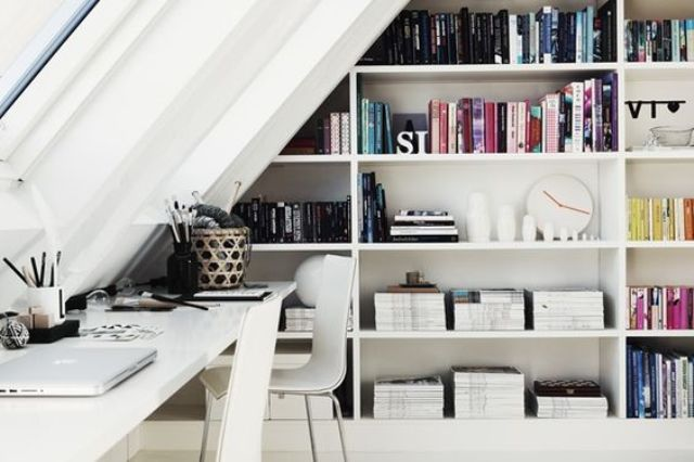 bookshelves in an attic home office