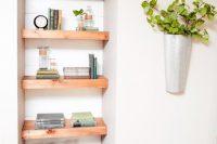 17 open shelves in the corner