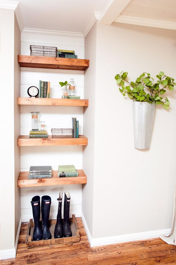 open shelves can occupy any corner