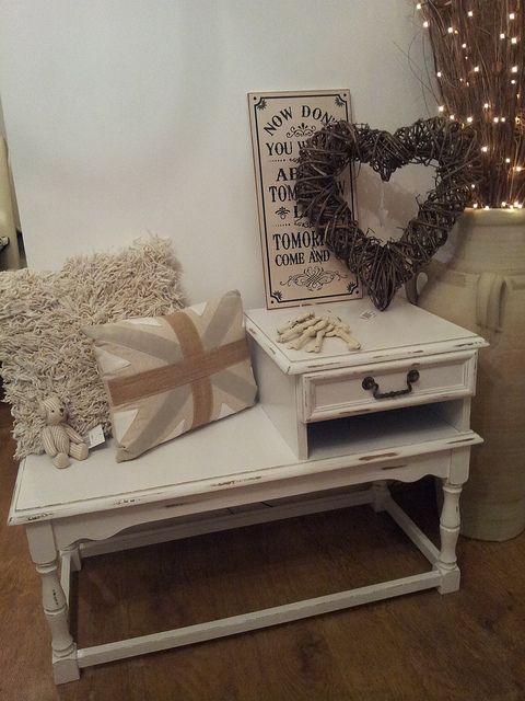 shabby chic whitewashed telephone table