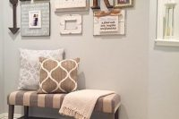 17 small striped entryway bench