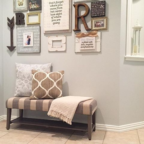 Small Striped Entryway Bench