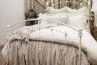 17 weathered wood headboard, vintage metal bed and shabby chic textiles