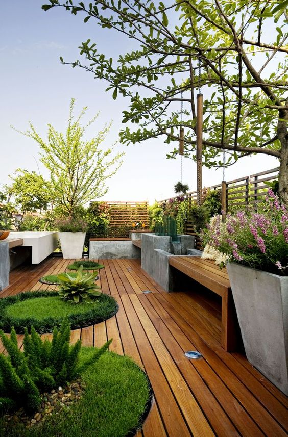 Picture of wooden deck with potted plants and lawn oasises for Garden decking and grass