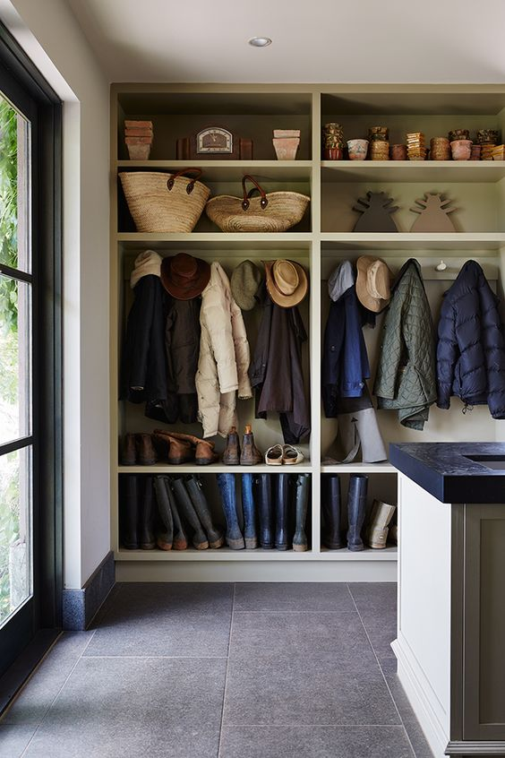 open shelves for a mudroom