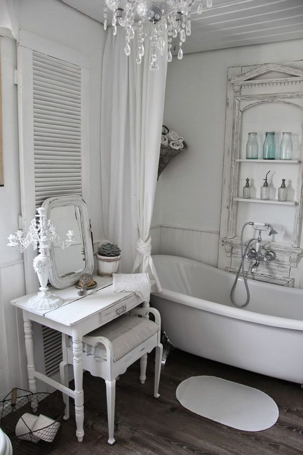 26 adorable shabby chic bathroom d cor ideas shelterness for Bathroom dressing ideas