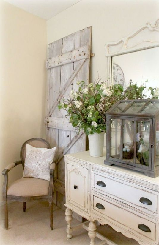 whitewashed shabby chic sideboard